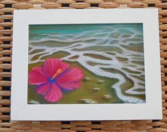 "5 x 7 "" Hibiscus in the Surf"", print of my original pastel"