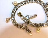 Charm Bracelets, Stainless Steel Bracelet, Charm Jewelry, Glass Pearl