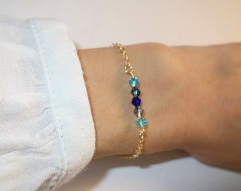 16 carat gold plated bracelet, Pompom and beads, turquoise and blue night blue