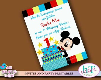 Mickey Mouse Thank You Cards. Printable Thank You Card. Digital (print it yourself)