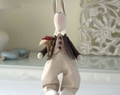 Andrew Bunny-Rabbit Toy-Hare Toy-Handmade Toy-Textile Toy-Fabric Toy-Home Decoration-Handmade Doll-Wedding Gift-Bride and Groom Gift