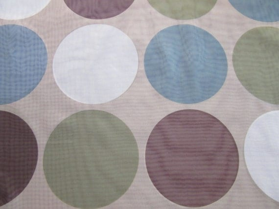 Polka Dot sheer drapery fabric. Large multi-color dots on tan sheer ...