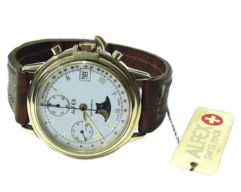 Vintage Alfex Chronograph Moonphase Automatic Mens Watch NOS Swiss