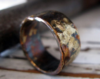 Rustic Mens Wedding Band Oxidized Sterling Silver and Yellow Gold 10mm Width Hammered Finish Artisan Mens Wedding Ring or Commitment Ring