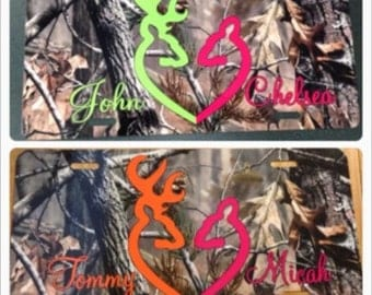 Camouflage browning heart buck doe License plate camouflage browning car tag new pink green orange