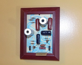 Vintage circuit board art, framed