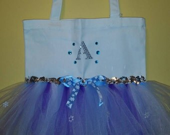 Frozen Tutu Tote Bag, Tutu Bag, Frozen Bag, Frozen Tutu Bag, Frozen Inspired Tutu Bag, Frozen , Theme Tutu Bag, Tutu Dance Bag