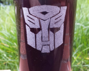 Hand etched hi-ball glass inspired by Transformers