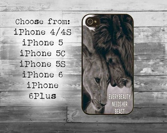 Every beauty need her beast phone cover - iPhone 4/4S, iPhone 5/5S/5C, iPhone 6/6+, iPhone 6s/6s Plus case - lion couple iPhone case