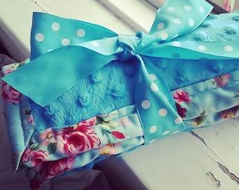 Blue floral, minky baby blanket