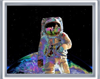 Visionary Astronaut Art Print 8 x 10 – Outer Space Cosmic Visionary Artwork - Psychedelic Pop Art - Bright Colors - Surreal