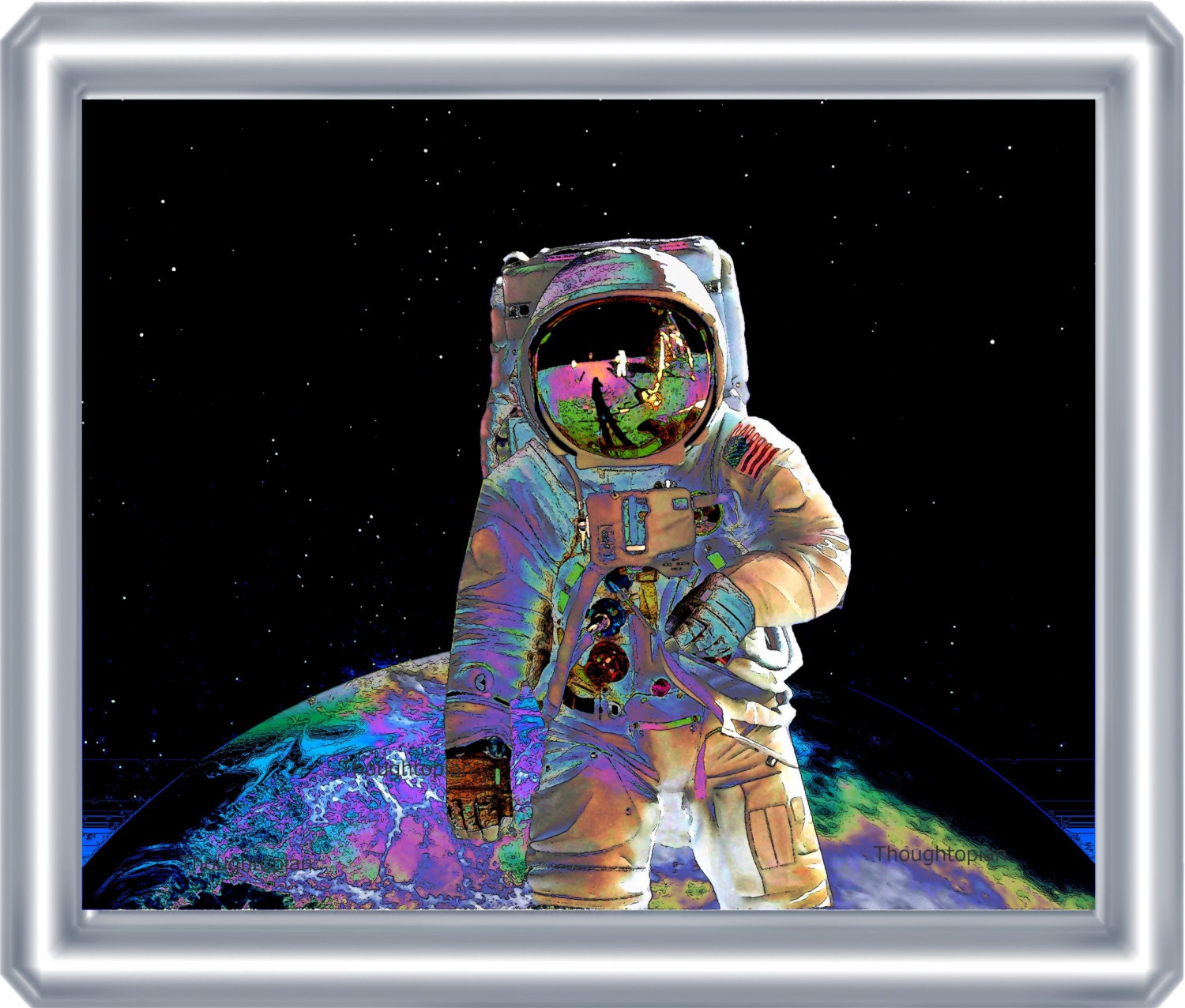 Visionary Astronaut Art Print 8 X 10 Outer Space Cosmic