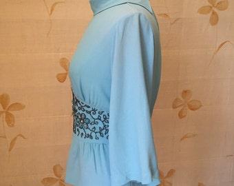 1960's vintage Mod beaded blouse