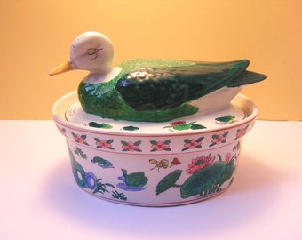 Biscuit bowl in duck form / Old Porcelain / 60s / Hand Painted