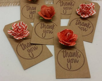 Thank you  gift tags coral flowers
