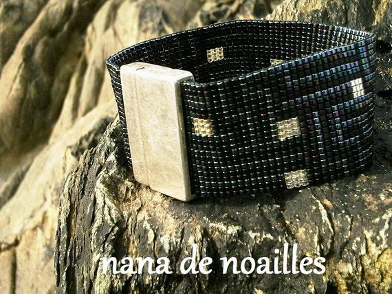 Bracelet Manchette  Perles de rocailles Miyuki Tissées / collection Cognac-Jay/Modèle citylight