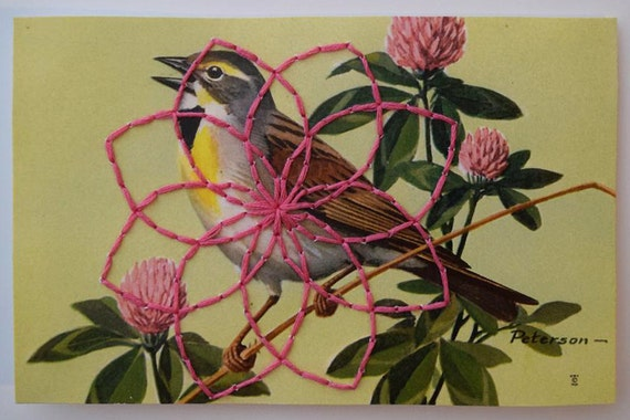 Postcard with Geometric Embroidery - Yellow and Gray Bird on Pink Clover with Pink Stitching