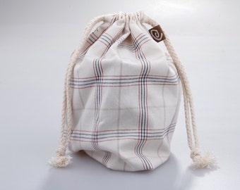 Cotton Draw String Pouch, Plaid.