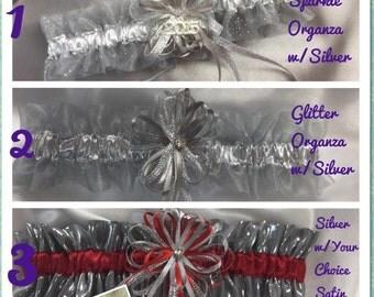 Silver/ Grey Wedding or Prom Garters