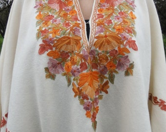 70's Spring Summer Poncho/Cape Embroidered with Flowers and Fringe/Bohemian/Boho/Folk/Festival/Hippie