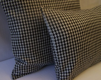 "Decorative Pillow Cover -  20'' X 20"", 14'' X 20'' - Accent Pillows - Wool Pillows - Houndstooth Pillows - Wool Black and White pillows"