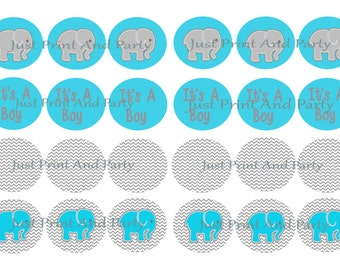 Teal and Grey Elephant Baby Shower  It's A Boy Hershey Kiss Stickers Kiss Labels Three Quarter Inch Stickers Personalized Kiss Stickers