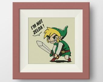 BUY 2, GET 1 FREE! Link 'I'm not Zelda Cross Stitch Pattern, Quote cross stitch, pdf counted cross stitch pattern, Instant Download, #P106