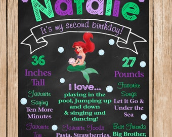 The Little Mermaid, Ariel Birthday Chalkboard
