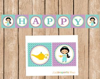 Jasmine, Happy Birthday Banner, DIY, Instant Download