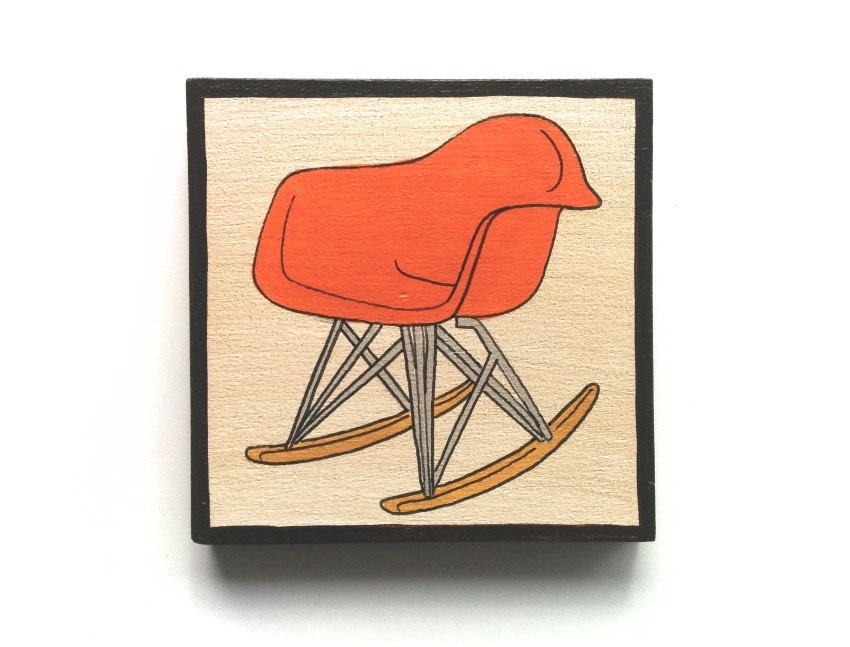 Eames Rocking Chair Mid Century Design Chairs Wood Paintings
