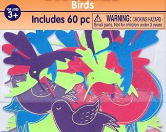 Foam Bird Stickers - 60 Pack