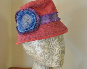 "Red Dyed Denim Bucket Beach HAT #13 - Blue Violet Upcycled OshKosh Fringe Denim Circle - Child 12-24 Months Infant Baby 20"" Hat"
