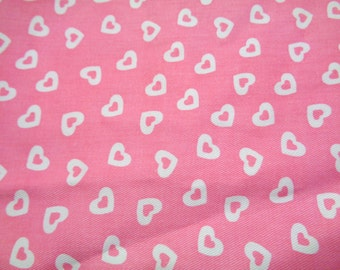 3/4 yard pink twill with white hearts