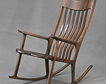 Maloof style rocking chair in walnut