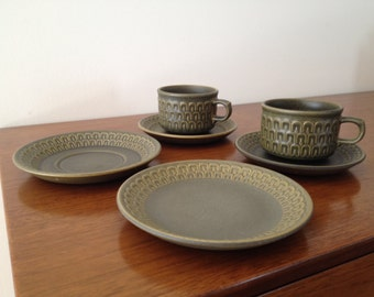 Wedgwood Cambrian Green Cups and Saucers