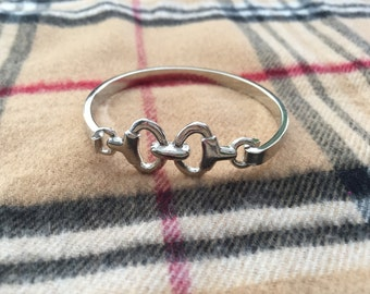 Horse bit bracelet-Silver in color