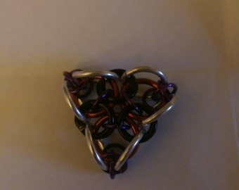 Black and red chainmail pendant