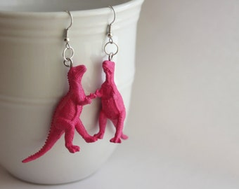 FREE SHIPPING Your Choice Color Allosaurus Repurposed Upcycled Plastic Dinosaur Toy Earrings Hypoallergenic