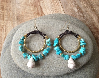 Handmade beaded round turquoise earrings with gold and white beads/ oriental earrings