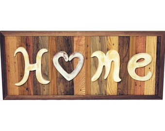 "Handmade Reclaimed Wood ""Home"" Decor Sign"