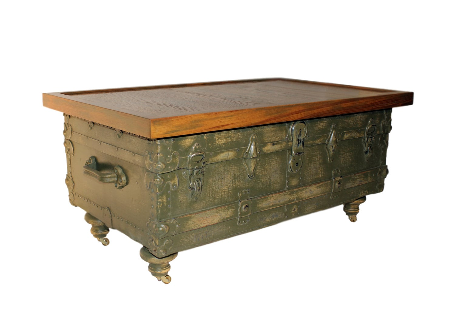 Antique Trunk Coffee Table With Reclaimed Wood Top