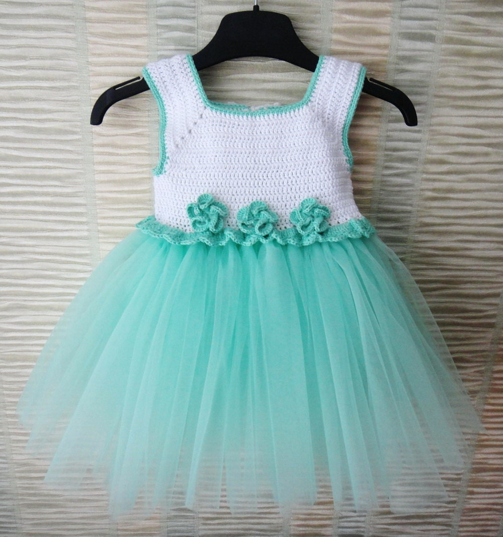 Mint And White Handcrafted Baby Tulle Dress With Crochet Top