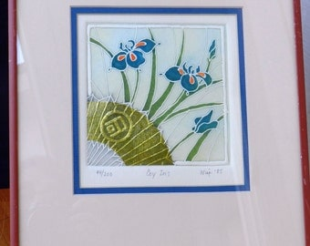 """Embossed Print Entitled """"Coy Iris"""" by Artist Wise Number 44 of 200              00247"""