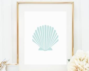 Mint Shell Print, Digital Print, Sea Shell Print, Beach Decor, Instant Download, Scallop Wall Art, Seashell, Ocean Print, Printable Art