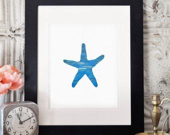 Nautical Prints, Wall Art, Starfish Print, Beach House Decor, Starfish Art, Nautical Decor, Ocean Print, Nursery Art, Starfish Wall Decor