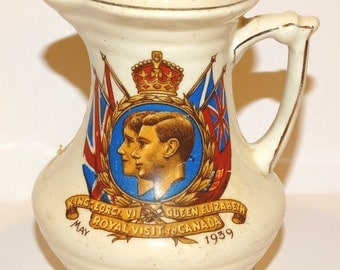 King George VI and Queen Elizabeth Royal Visit to Canada Pitcher