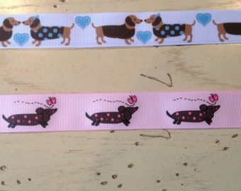 One Inch Wide Custom Made Pink or Blue Dauschund Print Adjustable Dog Collar