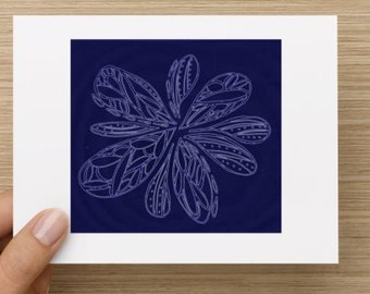 Blank Notecard - Blue Floral