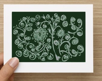 Blank Notecard - Green Floral Expressions