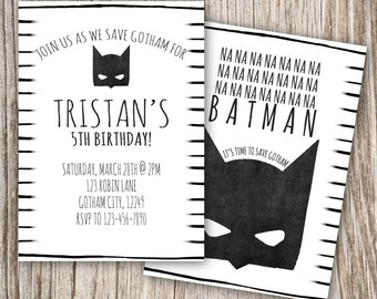Batman, Superhero, Gotham, Black, White, Modern, Birthday Invitation